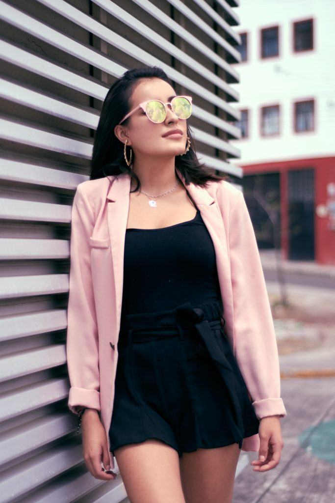 Outfit ideas for women: 12 amazing outfit ideas to look stylish. Try This amazing casual outfit ideas that are fashionable and will make you feel beautiful. black dress with pink coat