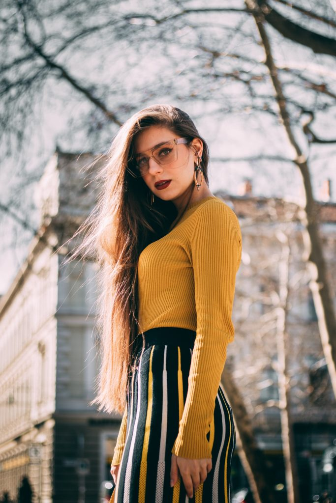 Outfit ideas for women: 12 amazing outfit ideas to look stylish. Try This amazing casual outfit ideas that are fashionable and will make you feel beautiful, casual outfit ideas, yellow top with striped pant